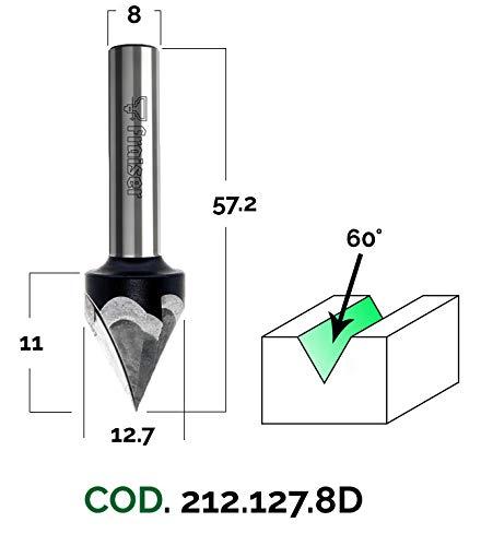 Schriftfräser - D 12.7 / I 11 / S 8 / A 60 - Holzfräser für Oberfräse | Fraiser