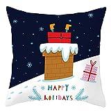 Beydodo 1 Funda Cojin Fundas de Cojin 40X40 Chimenea Regalo y Copos de Nieve Happy Holiday Blanco Azul Oscuro