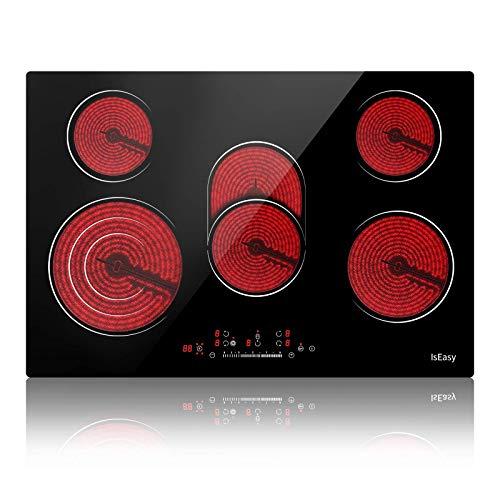 Vitrocerámica - Placa de cocina eléctrica, 5 zonas, 8600 W, panel táctil