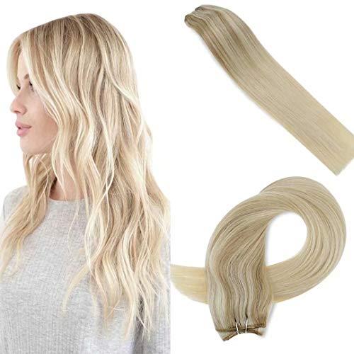 LaaVoo 50cm Straight Hair Bundles Weaving Cabello Remy Cortina 100Gramo/Trama Real Sewing Extensiones Humanas Remy Weft Rubio Ceniza Balayage Bionda Media Ombre Rubia Platino