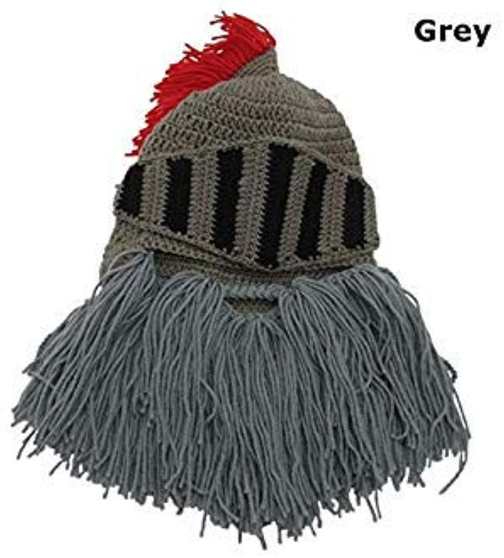 2018 New Men's Fashion Handmade Face Mask Funny Beanie Ski Cap Roman Helmet Red Tassel Barbarian Knight Knit Beard Hat