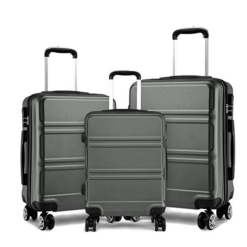 Sculpted Horizontal Design TSA Lock ABS Lightweight Suitcase Luggage Set with Spinner Wheels for Travel Holiday (Set of 3 (20', 24' & 28'), Grey)