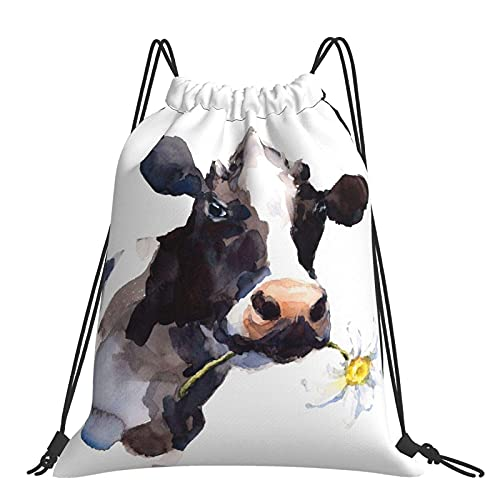 Watercolor Cow With A Daisy Flower Drawstring Bags Lightweight Print Drawstring Backpack Storage Pouch Bag Gym Sackpack for Men Women