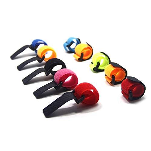 Geshiglobal - 10 pezzi per canna da pesca con gancio e anello per cavi, colore casuale