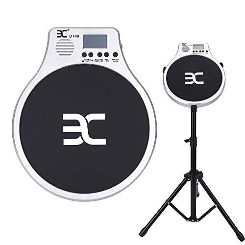 EX Drum Übungspad 25,4 cm Pad mit Drumsticks und Ständer, tragbare Pad-Tasche, Ständer, Tasche, Kopfhörer, Preposition einstellbar, Ständerhöhe und Schlagzeugkopfwinkel