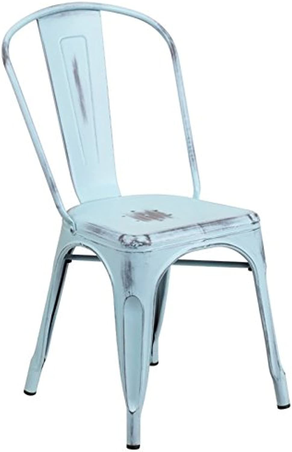Bowery Hill Metal Dining Chair in Distressed Dream bluee