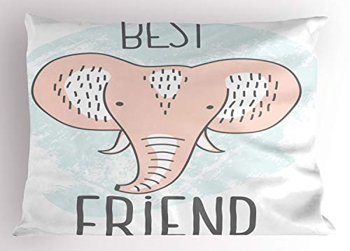"Lunarable Nursery Pillow Sham, Best Friend Typography Elephant Head Portrait Toddler Baby Shower Doodle, Decorative Standard Size Printed Pillowcase, 26"" X 20"", Pale Peach Baby Blue"