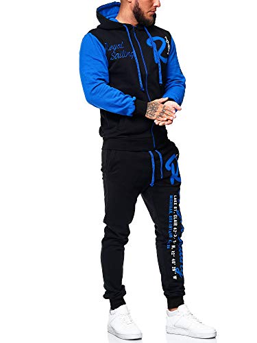 OneRedox Herren Trainingsanzug Jogginganzug Sportanzug Modell 3677 Schwarz Blau S