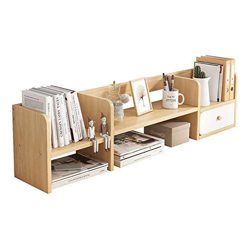 Estante para Libros Estantería con 1 cajón de estantería de estantería de Almacenamiento de Escritorio de Madera para Oficina y hogar, Color Natural Librero