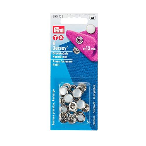 Prym 390122 Nachfüllpackung für 390117 Nähfrei Druckknopf Jersey, Messing, Perlkappe 12 mm, Metal, Perle