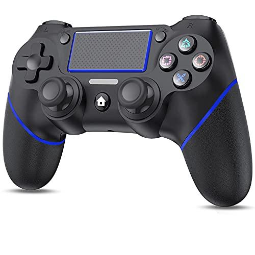 PS4用 コントローラー ワイヤレス 600mAh大容量 二重振動 連射機能 ジャイロセンサー機能 イヤホンジャック タッチパッドやビルトインスピーカー搭載 反応速い 遅延なし PS3/PC対応 日本語取扱説明書付き(ブラック/ブルー)