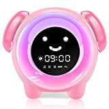 KNGUVTH Kids Alarm Clock, Updated Version Sleep Training Kids Clock with 7 Changing Colors Teach Girls Boys Time to Wake up, 6 Alarm Rings, NAP Timer, Rechargeable Battery USB Charging Clock (Pink)