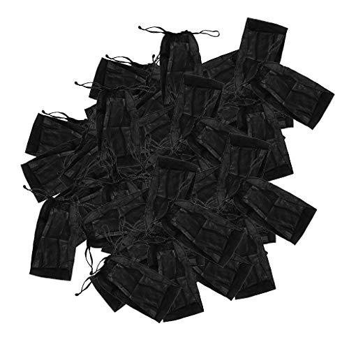100 Stück Einweg String Tanga für Herren Damen, Blau, einzeln verpackt, hautfreundliches Vlies - Schwarz
