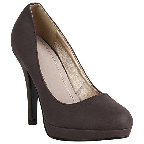 Damen Schuhe Peeptoes Pumps Plateau Stilettos High Heels Abendschuhe 157135 Dunkelbraun Brito 39 Flandell