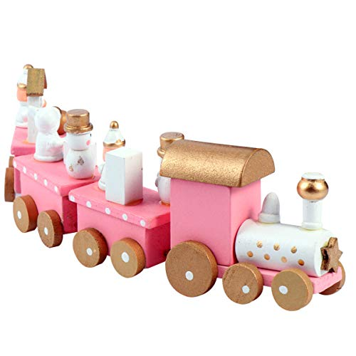 NUOBESTY Christmas Wooden Train Rail Winter Wonderland Train Mini Train Decor Set for Christmas Party Under Christmas Tree Decorations Pink