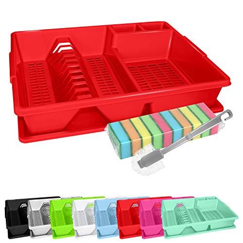 WELLGRO Abtropfgestell, Reinigungsbürste und 10 Schwämme - ca. 44 x 35 x 9 cm (LxBxH) - Abtropfgitter - Abtropfschale - Geschirrständer - Geschirrkorb - Abtropfkorb, Farbe:Rot