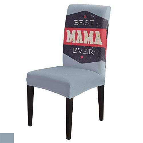 6 PCS Stretchy Dining Chair Slipcovers for Home Ceremony Banquet Wedding Party, Removable Washable Anti-Dirty Furniture Protector for Kids Pets, Mother's Day BEST MAMA EVER on Graffiti Black and Grey