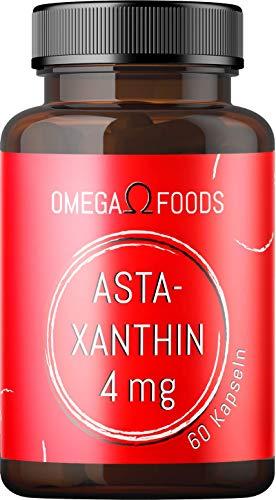 Astaxanthin Kapseln - natürliches Astaxanthin Hochdosiert 60 Kapseln - Mit bestem Olivenöl und Rindergelatine - Ohne Magnesiumstearat und andere Zusätze