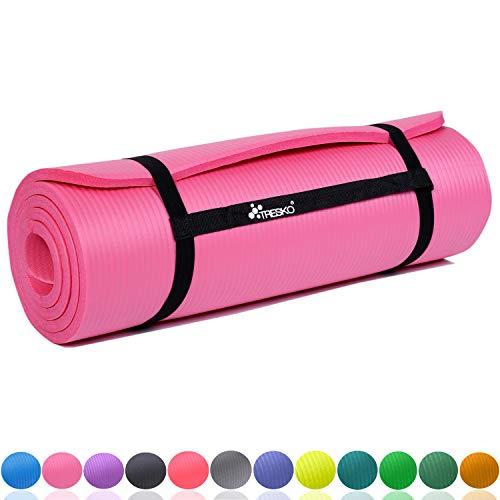 TRESKO Fitnessmatte Yogamatte Pilatesmatte Gymnastikmatte 6 Farben/Maße 185cm x 60cm in 2 Stärken/Phthalates-getestet/NBR Schaumstoff/hautfreundlich, kälteisolierend (Pink, 185 x 60 x 1 cm)