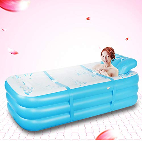 HYQ Plegable Inflable Adulto Bañera, En Forma De S Autoportante Remojo Bañera Plegable Baño Cubo Ecológico Baño SPA con,Azul