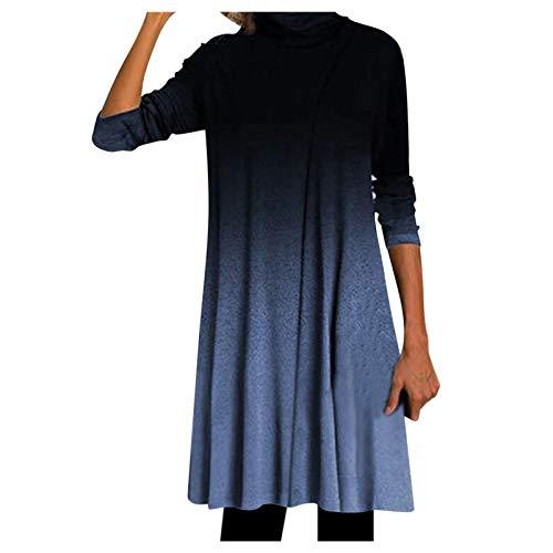 Kleid Langarm Kleid Winter Damen Kleider Stillkleid Brautkleider Lange Sommerkleider Bohemian Kleid Basteln Weihnachten(B-Blau,5XL)