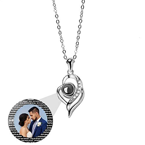 925 Silver Photo Projection Necklace 100 I Love You Language Promise Pendant Necklace Valentine's Day Engagement Mother's Day Anniversary Jewelry Ideas for Women(Silver2 18)