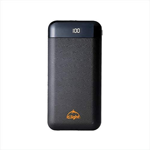 d Light Pb20 Pro 20000 mAh Power Bank Black for Heavy Duty Usage Fast Charging with Battery Percentage Indicator