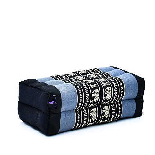Leewadee Yoga Block Pilates Brick Eco-Friendly Organic and Natural, 35x18x12 cm, Kapok, blue