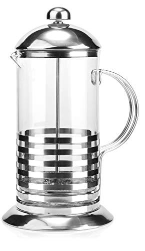 """com-four® Cafetera con sistema de prensa francesa - La prensa de café también sirve como tetera - Cafetera con cilindro de vidrio (01 piezas -""""Tebino"""" 1 litro)"""
