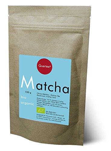 Quertee Bio Matcha - Grüner Tee Pulver vegan zum Trinken, für Matcha-Latte, Smoothies, ... - 100 g