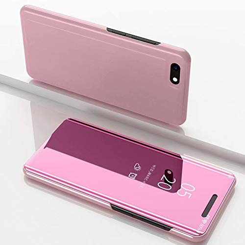 GUODONG Carcasa de telefono - Espejo de galvanoplastia Horizontal Funda de Cuero con Tapa for Xiaomi Redmi Go, con Soporte (Negro) Funda Trasera para Smartphone (Color : Rose Gold)