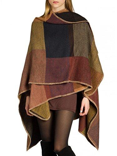 Caspar PON006 Damen Poncho, Farbe:braun, Größe:One Size