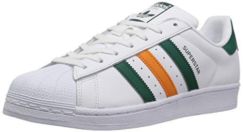 adidas Originals Superstar, Zapatillas Hombre, Blanco Colegiate Verde Táctil Naranja, 41 EU