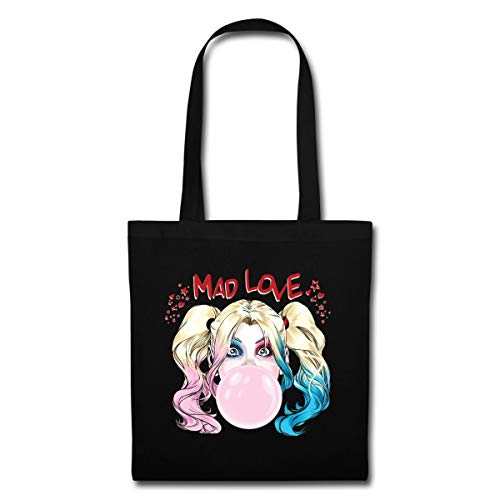 Spreadshirt Harley Quinn Mad Love Bubblegum Stoffbeutel, Schwarz