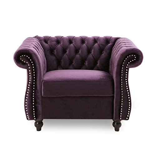 Leila Chesterfield Velvet Club Chair, BlackBerry