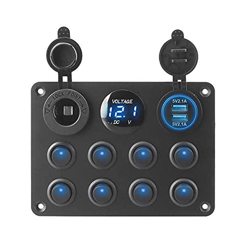 MIOMI Mingwangauto 8 interruptores de pandillas Toggle Rocker Switch Panel Dual USB Cargador del automóvil Pulsador Ajuste for Auto RV Camión Canal DE TELEVISIÓN BRITÁNICO Caravana campista