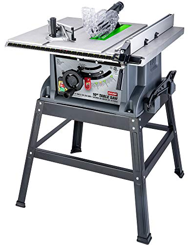 Genesis (GENBC) 10 in. 15 Amp Table Saw with Metal Stand, Miter gauge, Rip Fence, Push Stick and Accessory Storage (GTS10SC)