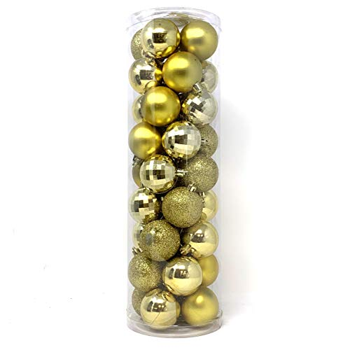 allgala Christmas Tree Ornament Balls, 36 PK 4 Style 2' Gold Xmas Balls