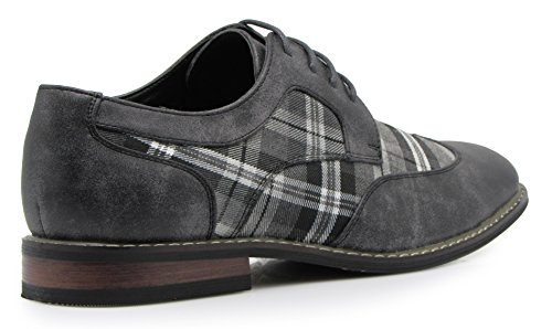Titan03 Men's Spectator Tweed Plaid Two Tone Wingtips Oxfords Perforated Lace Up Dress Shoes (13 D(M) US, Gray)