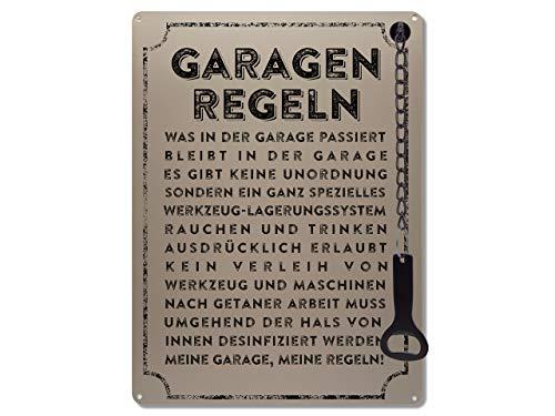Schilderkönig Metallschild mit Flaschenöffner 300x220mm - Garagenregeln - lustiges Schild als Geschenk für Freunde Deko für Werkstatt, Garage, Keller,