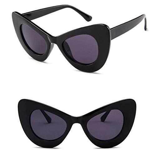 YOULIER Blanco Gran Ojo De Gato Mujeres Gafas De Sol Moda Clásico Señora Gafas De Sol Colorido Leopardo Gafas UV400 BlackGray