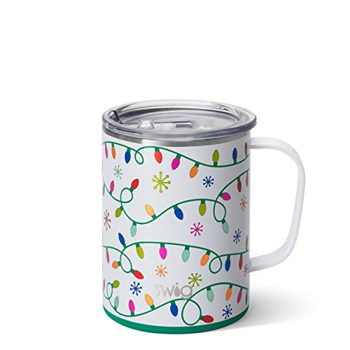 Swig Life 24oz Triple Insulated Mega Travel Mug with Handle and Lid, Dishwasher Safe, Double Wall, and Vacuum Sealed Stainless Steel Coffee Mug in Let it Glow Christmas and Holiday Print