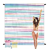 Sandproof Beach Blanket 79'×83' Large Waterproof Beach Mat for 4-7 Adults, Portable Quick Drying Picnic Blanket Outdoor Blanket for Travel, Camping, Hiking, Coloful Painting