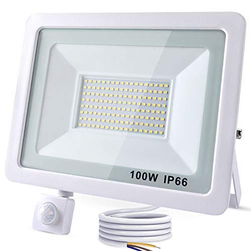RISEMART 100W LED Strahler mit Bewegungsmelder Außen, 8000LM 6000K Superhell Außenstrahler mit Bewegungsmelder Scheinwerfer IP66 Wasserdicht für Garten, Garage,Sportplatz A++(2,0 m Kabel) (Weiß)