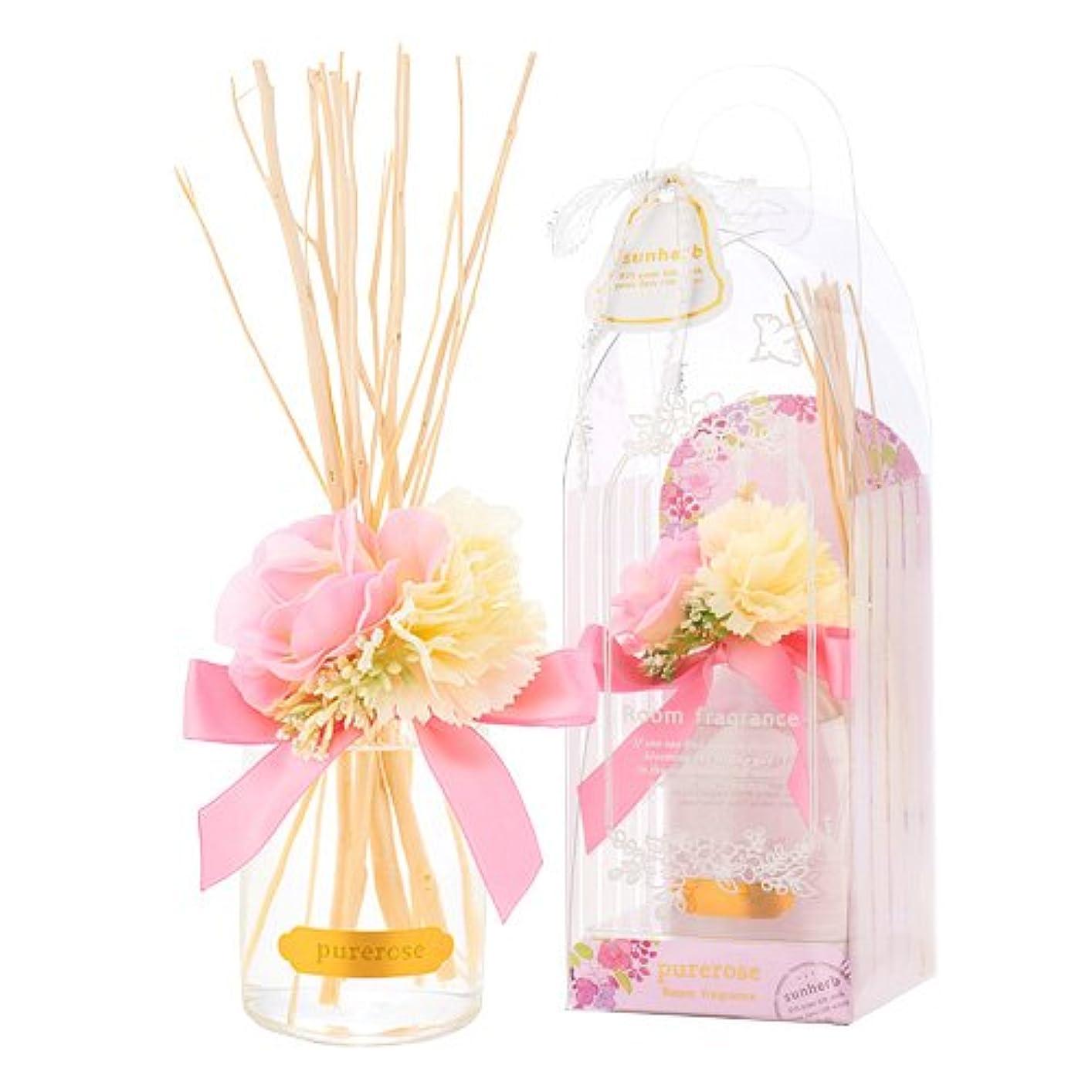 活気づけるファウル味サンハーブ ルームフレグランスフラワー ピュアローズ 100ml(芳香剤 花かざり付 うっとり幸せなばらの香り)