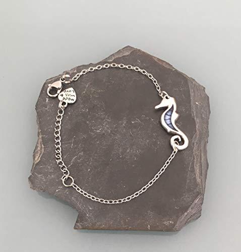 Pulsera mujer gourmette caballito de mar en plata, mujer pulsera, idea de regalo, regalos de joyas, caballito de mar joya, mujer pulsera de plata