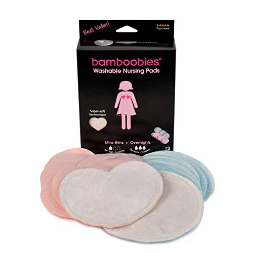 Bamboobies Washable Nursing Pads For Breastfeeding Variety Pack | Reusable Breast Pads| 6 Pairs | 3 Regular Pairs + 3 Overnight Pairs