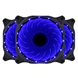 120mm Computer PC Blue LED Case Fan Quiet 12V 3pin Gaming PC Computer Cooler Case Fan 3-Pack