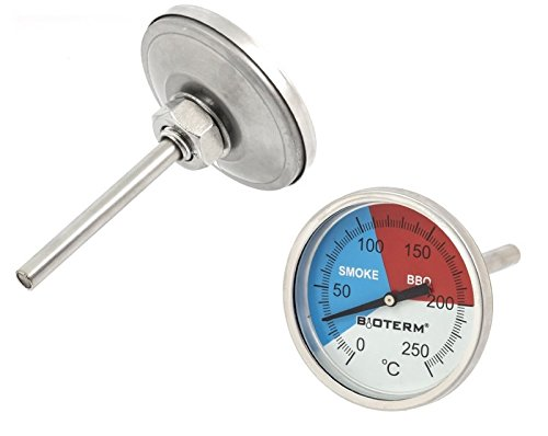 Premium grillthermometer met sonde (tot 250 °C) rookthermometer thermometer voor barbecue BBQ rookoven - analoog