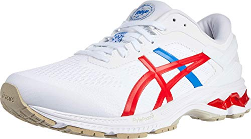 ASICS Men's Gel-Kayano 26 Running Shoes, 10.5M, White/Classic RED